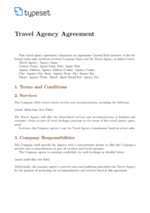 agreements  travel agency agreement template template travel service agreement template excel