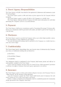 agreements  travel agency agreement template template travel service agreement template pdf