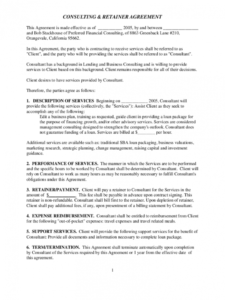 consulting and retainer agreement free download marketing retainer agreement template example