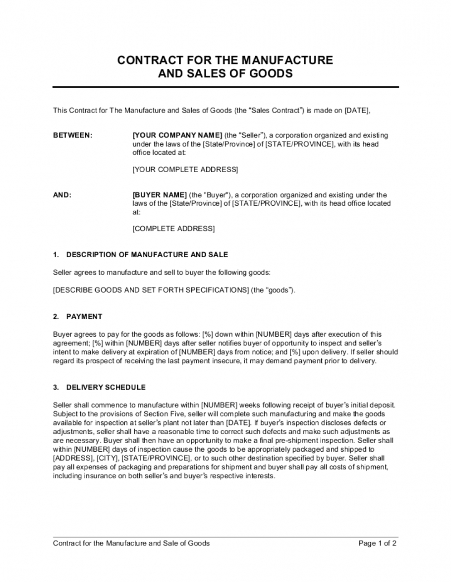 contract for the manufacture and sale of goods template sales contractor agreement template doc