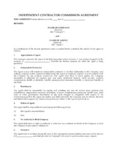 editable commission agreement for independent contractor independent contractor commission agreement template example