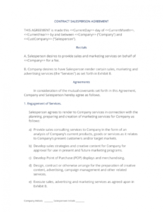 editable contract salesperson agreement  3 easy steps sales contractor agreement template example
