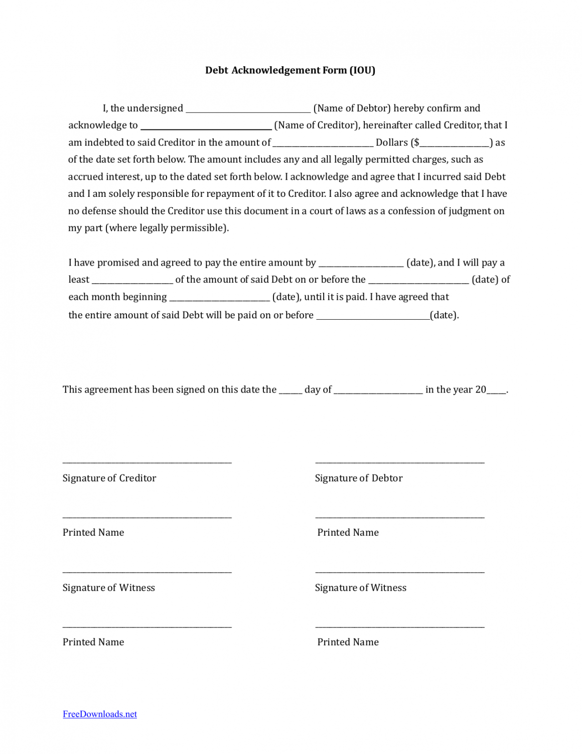 editable download iou i owe you debt acknowledgment form  pdf money owed agreement template word