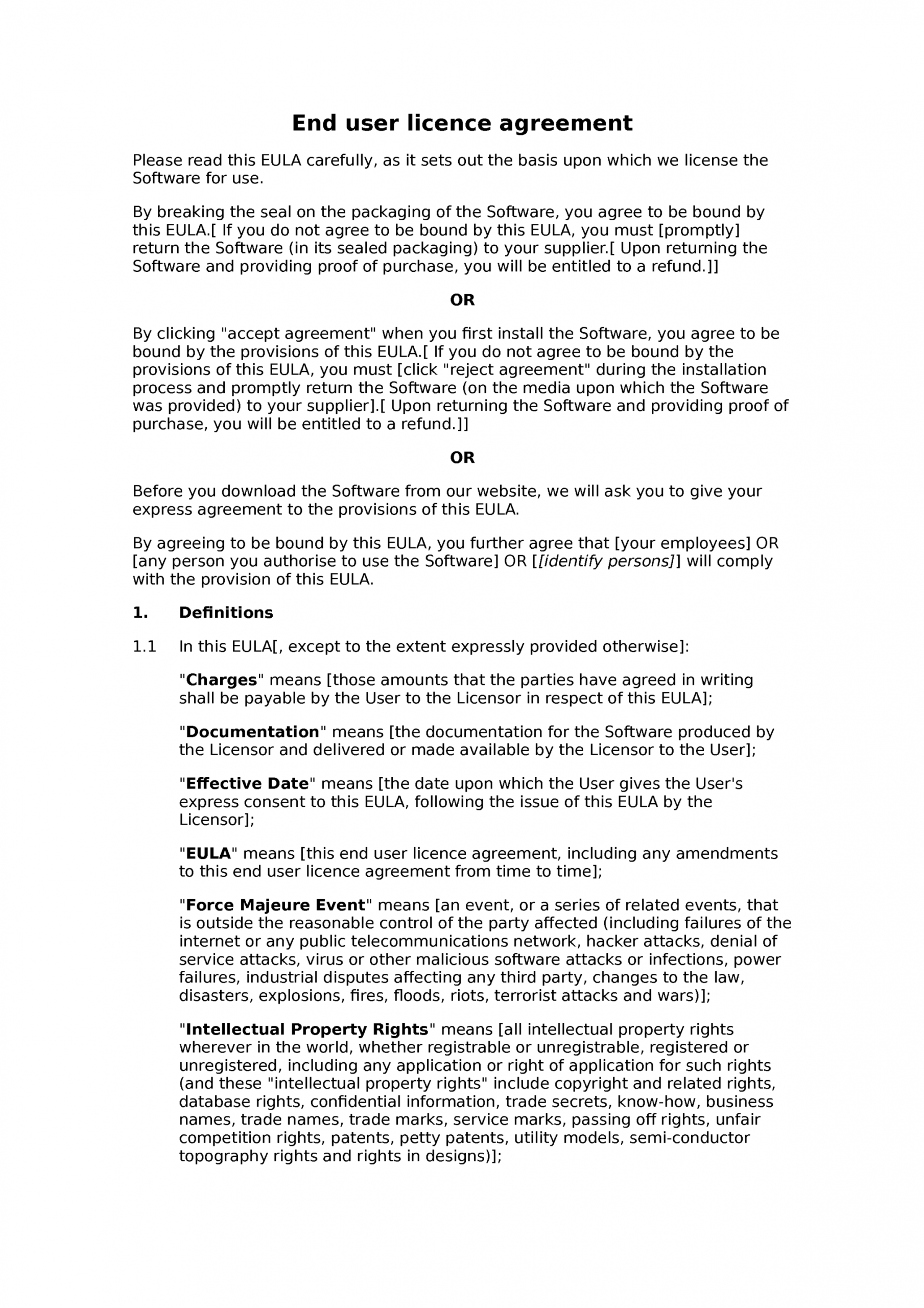 editable end user license agreement template   installation with end user license agreement template
