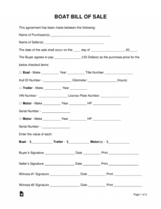 editable free boat vessel bill of sale form  pdf  word  eforms boat sale and purchase agreement template pdf