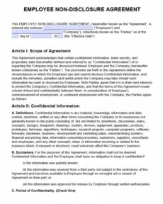 editable free employee nondisclosure agreement nda  pdf  word short non disclosure agreement template word