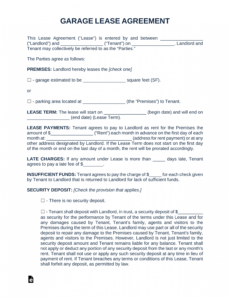 editable free garage parking rental lease agreement template  pdf parking space rental agreement template excel
