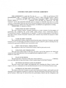 editable joint venture agreement template  5 free templates in pdf construction joint venture agreement template word