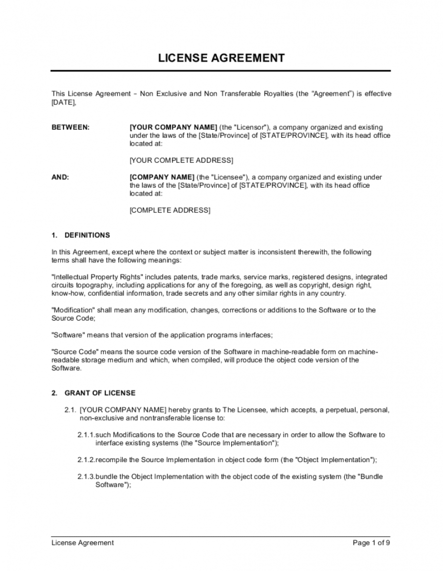 editable license agreement non exclusive and non service license agreement template example
