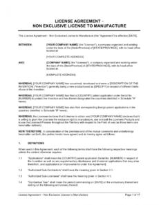editable license agreement nonexclusive license to manufacture manufacturing license agreement template