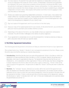 editable pet sitting agreement & guide  pdf free download pet protection agreement template doc