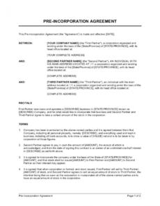 editable preincorporation agreement template businessinabox™ pre incorporation agreement template doc