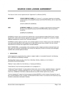 editable source code license agreement template businessinabox™ source code license agreement template pdf