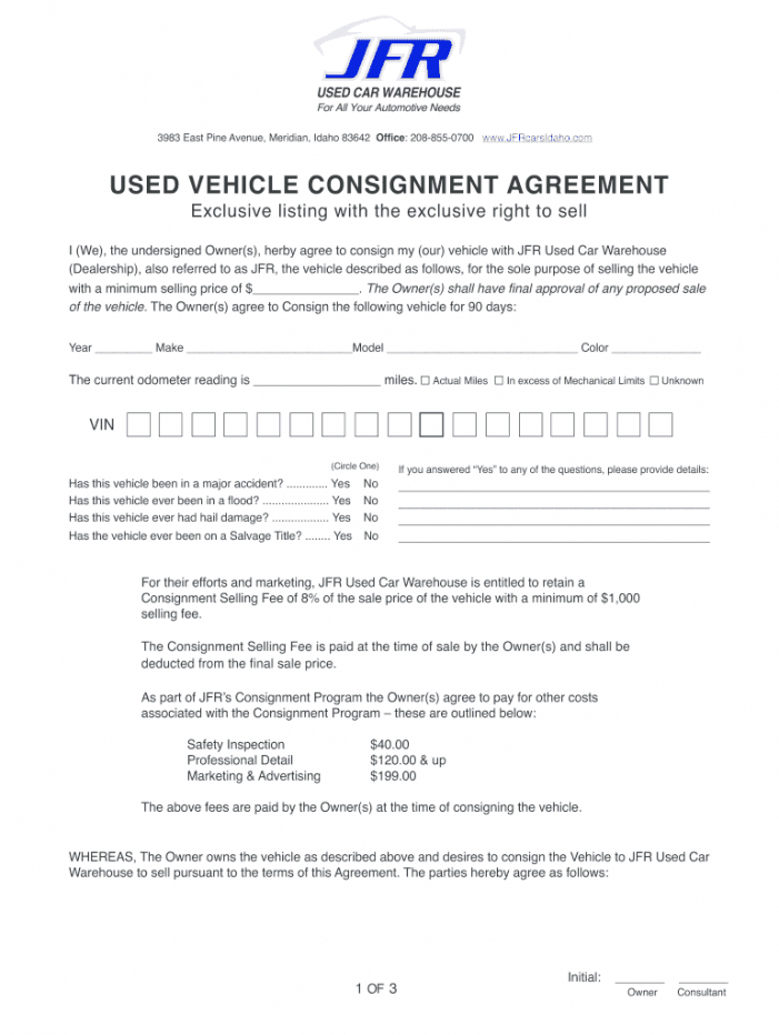 editable used vehicle consignment agreement pdf  fill online auto consignment agreement template excel