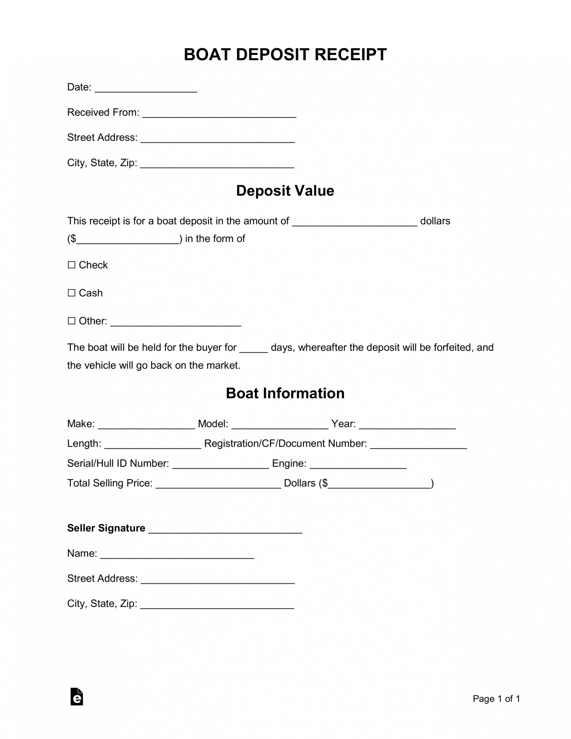 free boat deposit receipt template  word  pdf  eforms boat sale and purchase agreement template example