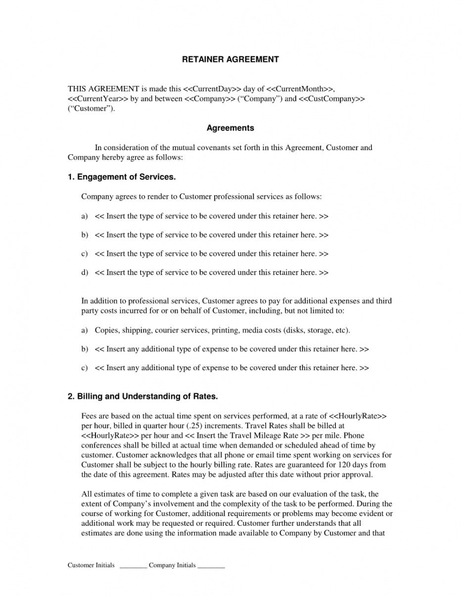 free create and download a retainer agreement template  bonsai consulting retainer agreement template excel