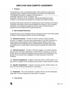free employee noncompete agreement template  eforms  free no competition agreement template word