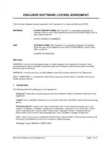 free enduser software license agreement template business end user license agreement template excel