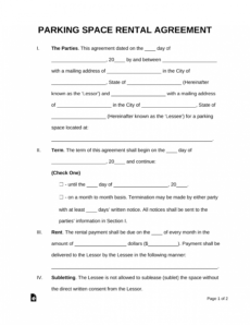 free free parking space rental lease agreement template  pdf parking space rental agreement template