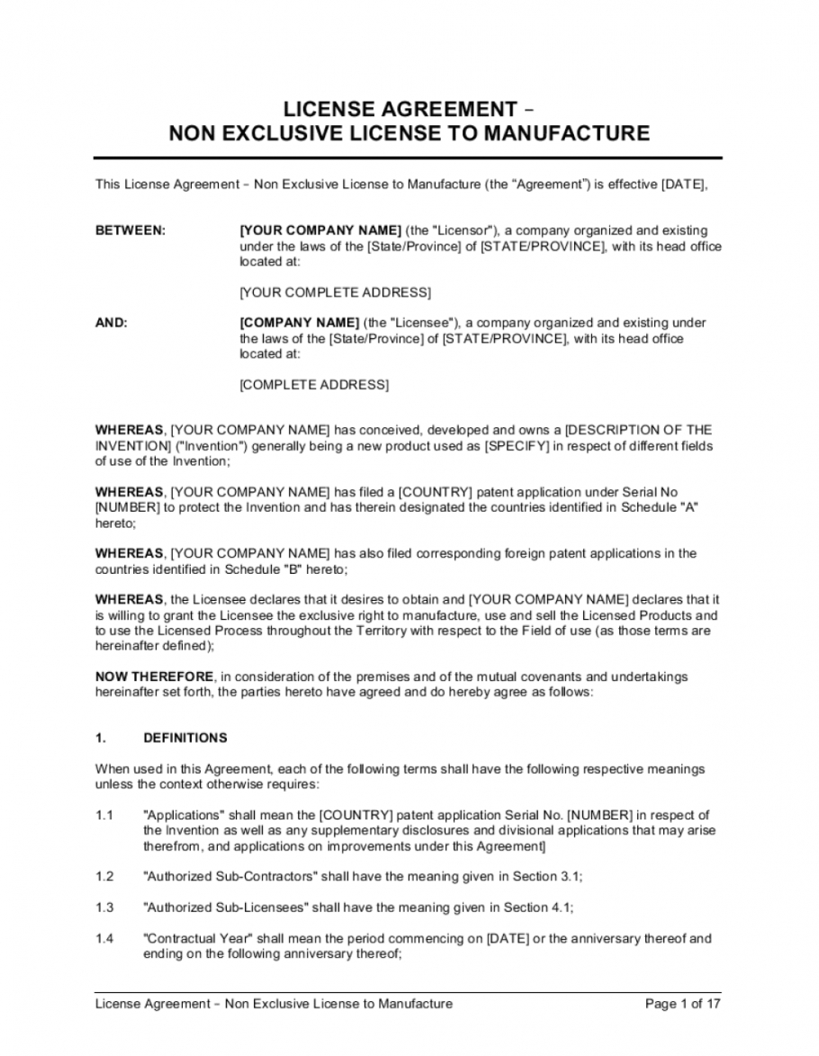 free license agreement nonexclusive license to manufacture non exclusive license agreement template pdf