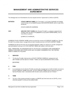 free management and administrative services agreement template business management agreement template example