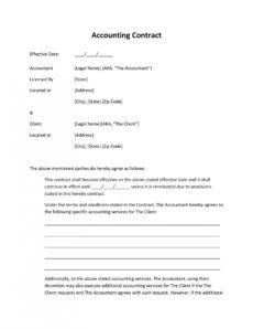free printable service agreements  printable agreements accounting service agreement template pdf