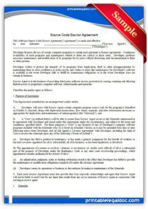 free printable source code escrow agreement form generic source code license agreement template doc