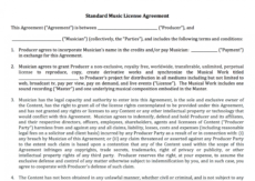 free standard music license agreement  nimia stock photo license agreement template doc