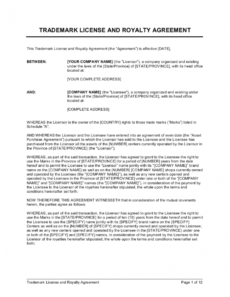 free trademark license and royalty agreement template royalty free license agreement template excel