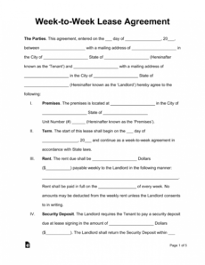 free weektoweek weekly lease agreement template  eforms temporary rental agreement template pdf