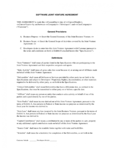 joint venture agreement templates  agreement sample templates construction joint venture agreement template example