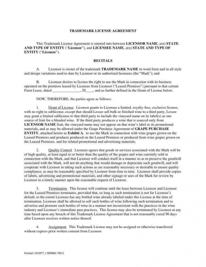 printable 8 trademark license agreement templates  pdf  free royalty free license agreement template