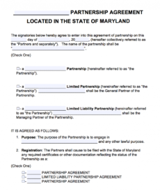 printable free maryland partnership agreement template  pdf  word it partnership agreement template doc