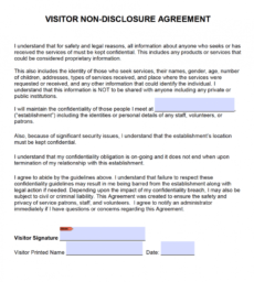 printable free visitor nondisclosure agreement nda  pdf  word docx short non disclosure agreement template example