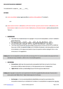 printable music publishing contract songwriters agreement template excel