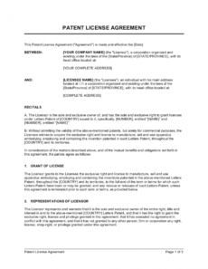 printable patent license agreement template businessinabox™ patent license agreement template doc