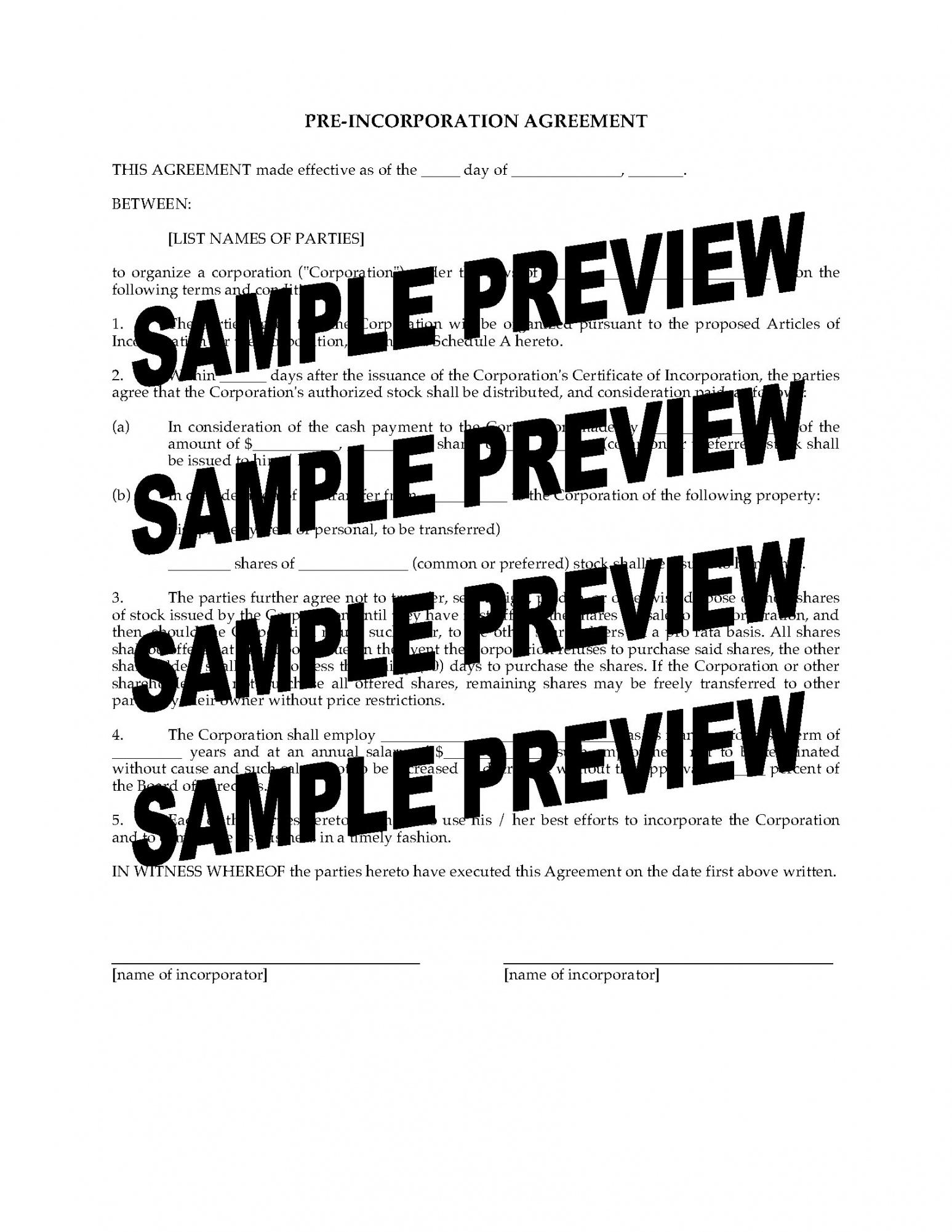 printable preincorporation agreement pre incorporation agreement template