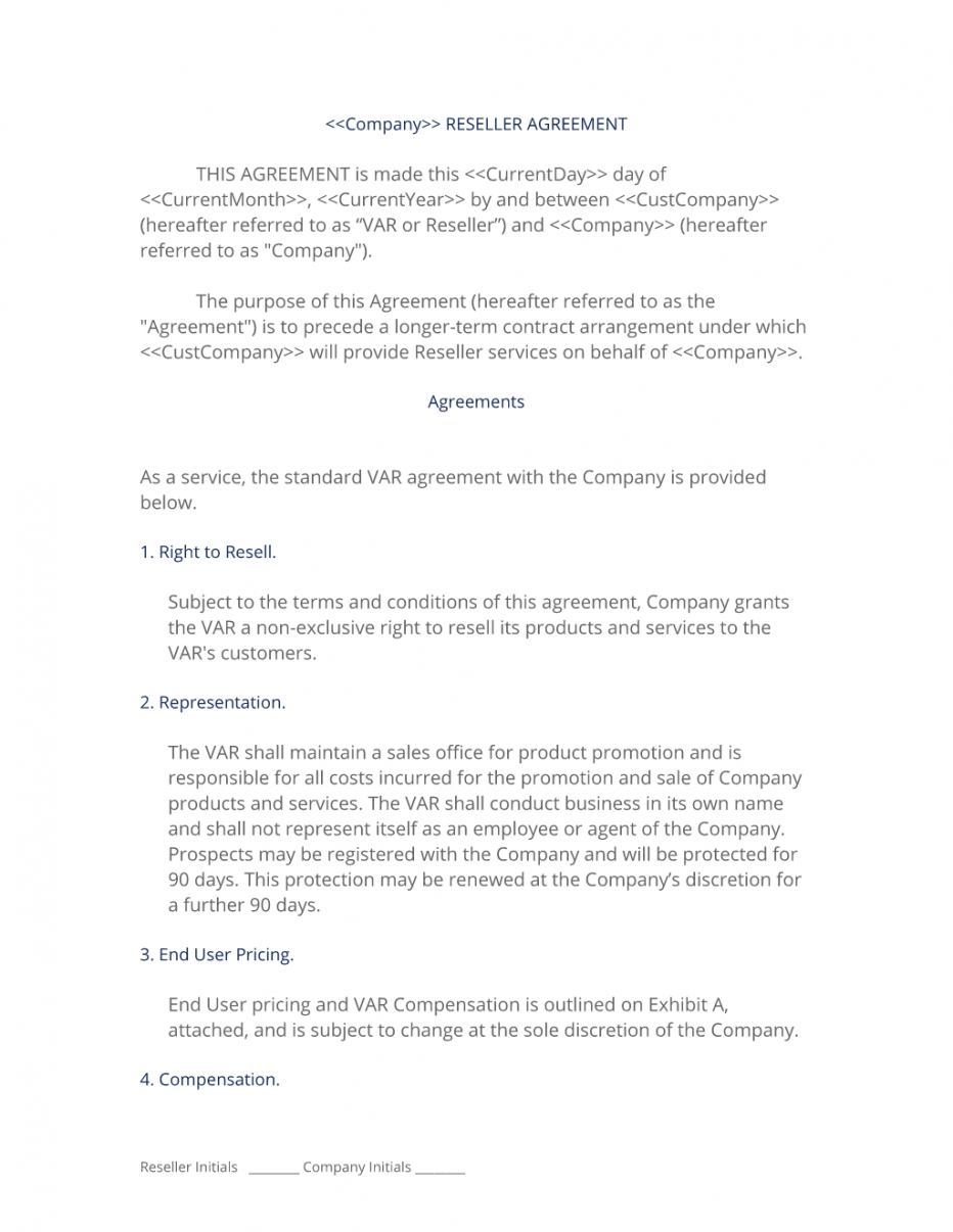 resellervar contract  3 easy steps product reseller agreement template excel