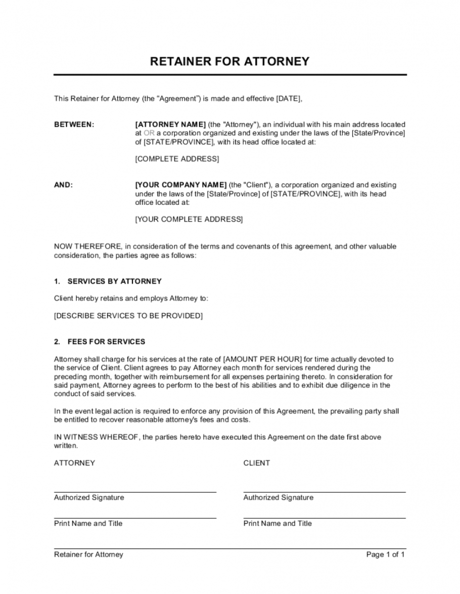 retainer for attorney template businessinabox™ legal retainer agreement template