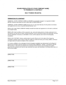 sample board resolution to terminate a contract template resolution agreement template pdf