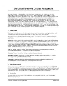 sample enduser software license agreement b2c template end user license agreement template sample