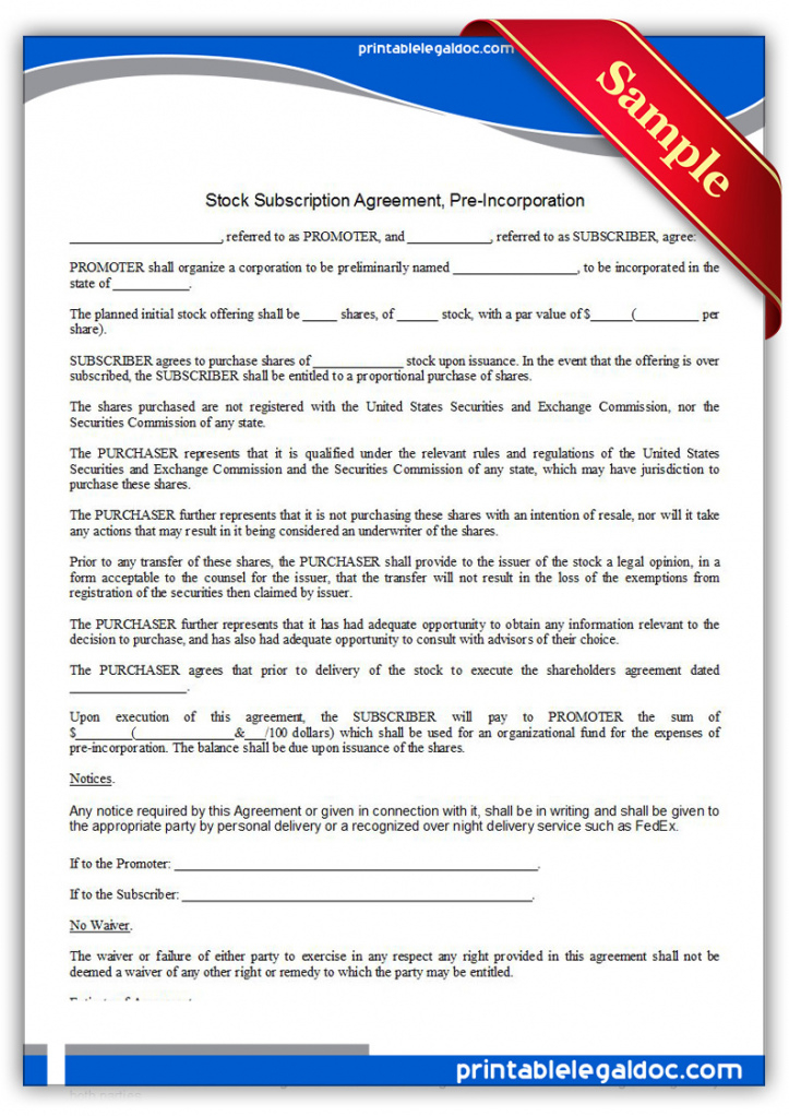 sample free printable stock subscription agreement pre pre incorporation agreement template pdf