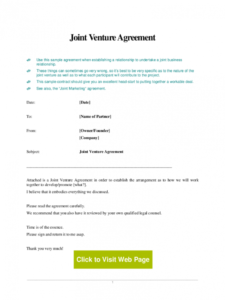 sample joint venture agreement template  5 free templates in pdf construction joint venture agreement template doc