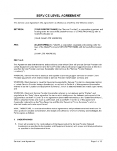 sample service level agreement template businessinabox™ travel service agreement template