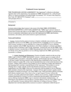 8 trademark license agreement templates  pdf  free product license agreement template example