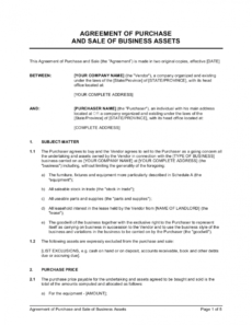 agreement of purchase and sale of business assets template basic purchase agreement template excel