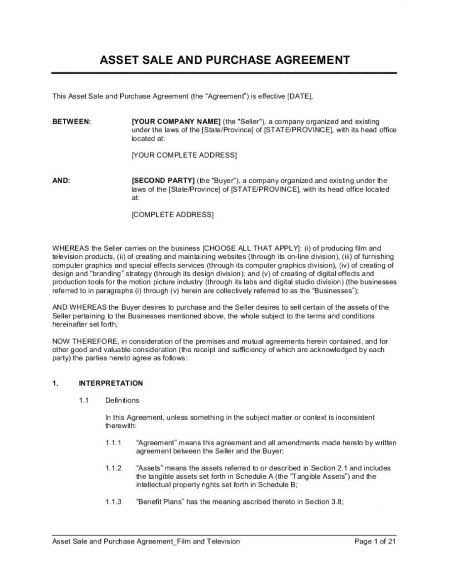 asset sale and purchase agreement film & television template basic purchase agreement template