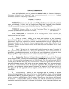 editable 6 trademark license agreement templates for restaurant content license agreement template pdf