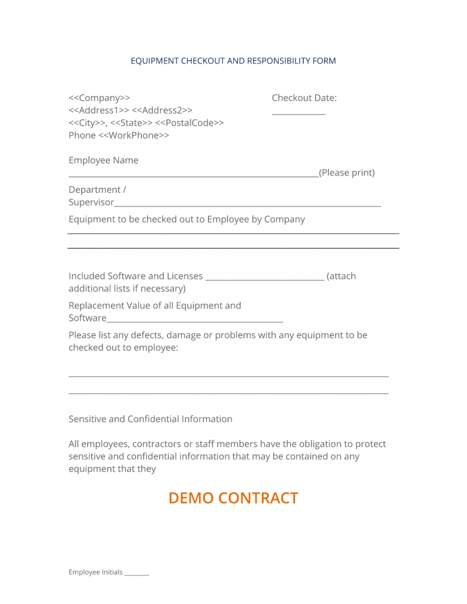 editable company equipment checkout form  3 easy steps employee equipment agreement template doc