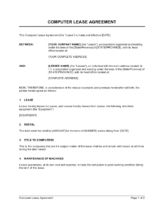 editable computer lease agreement template businessinabox™ legal rental agreement template excel